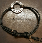 My Dad My Angel Black Leather Adjustable Bracelet