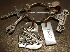 His Wings Were Ready Silver Funky Heart w/ Stainless Steel Tag Key Chain