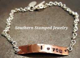 I Love You Copper Bar Bracelet