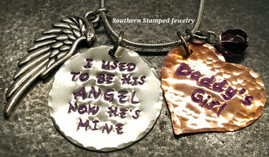 I Used To Be His Angel Silver Circle w/ Solid Copper Heart And Purple Lettering