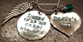 I Used To Be His Angel Silver Circle w/ Silver Solid Heart And Turquoise Lettering
