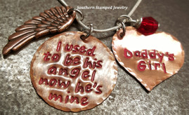 I Used To Be His Angel Copper Circle w/ Solid Copper Heart