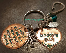 I Used To Be His Angel Copper Circle w/ Copper Solid Heart Key Chain w/ Turquoise Lettering