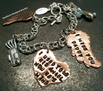 I Used To Be His Angel Copper Funky Heart w/ Small Copper Wing Bracelet
