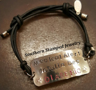 Medical Alert Adjustable Black Leather Bracelet