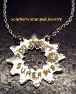 You Are My Sunshine Silver Sunburst Necklace w/ Yellow Lettering