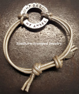 My Dad My Angel Silver Washer Pearl Adjustable Leather Bracelet