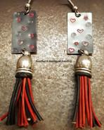 Queen Of Hearts Black Metal w/ Black And Red Tassel Earrings