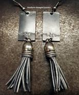 Black Metal Bird And Silver Tassel Earrings