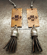 Copper Owl And Brown Leather Tassel Earrings