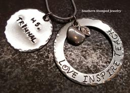 Love Inspire Teach, Teacher Appreciation Necklace