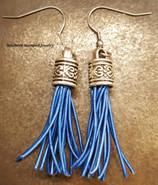 Blue Leather Tassel Earrings