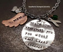 If Love Could Have Saved You Large Silver Circle w/ Small Copper Feather Rear View Mirror Charm