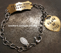 Follow Your Dreams Brass Plaque w/ Brass Tiff Style Heart And A Stainless Steel Bracelet