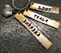 Love, Teach, Inspire Bronze Bar Necklace