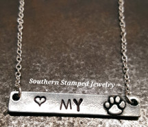 Pewter Bar Necklace w/ Paw Print