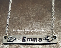 Arrow Pewter Bar Necklace