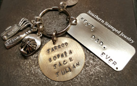 Best. Dad. Ever. Silver Rectangle w/ Natural Brass Circle Key Chain