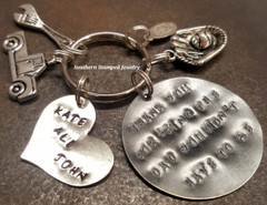Thank You For Being The Dad Black Metal Circle w/ Silver Solid Heart Key Chain