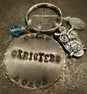 Natural Brass Circle Key Chain