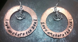 Love Anchors The Soul Large Copper Washer Earrings