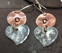 Copper Circle And Tiny Silver Heart Earrings