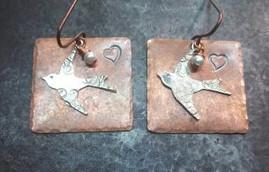 Artisan Copper Square w/ Silver Bird Earrings