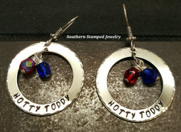 Hotty Toddy Ole Miss Washer Earrings
