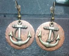 Artisan Copper Circle w/ Bronze Anchor Earrings