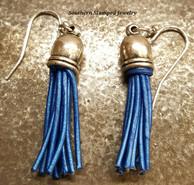 Blue Mini Tassel Earrings