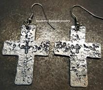 Large Decorated Cross Aluminum Earrings