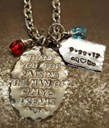 Thank You For Raising The Man Of My Dreams Natural Brass Oval w/ Silver Luggage Tag And 2 Birth Stones