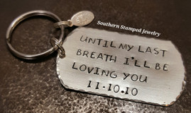Large Silver Dog Tag Key Chain