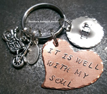 Large Copper Funky Heart w/ Silver Circle Key Chain
