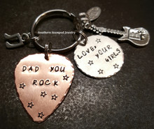 Dad You Rock Copper Guitar Pick w/ Silver Circle Key Chain