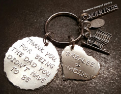Thank You For Being The Dad Silver Circle w/ Silver Solid Heart Key Chain