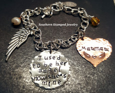 I Used To Be Her Angel Silver Circle w/ Solid Copper Heart Bracelet