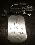 Large Silver Dog Tag Key Chain w/ Charms