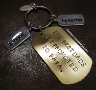 Brass Dog Tag w/ 4 Pewter Tags Key Chain