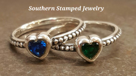 2 Sterling Silver Stackable Birth Stone Rings