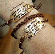 Set of 3 Personalized Copper And Brown Leather Bracelets