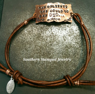 Copper Square Plaque And Brown Leather Adjustable Bracelet
