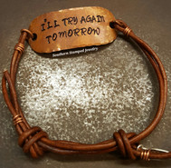 Copper Rounded Rectangle And Brown Leather Adjustable Bracelet