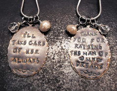 "2 ""Thank you"" Mother In Law Natural Brass Oval Necklaces"
