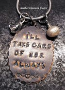 I'll Take Care Of Her Always Natural Brass Oval w/ 2 Birth Stone Beads