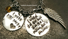 I Used To Be His Angel Silver Circle w/ Silver Circle Cut Out Heart Rear View Mirror Charm