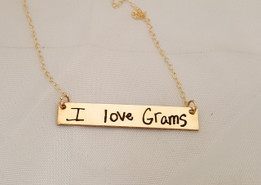 Engraved Jewelry - Gold Handwriting Bar Necklace