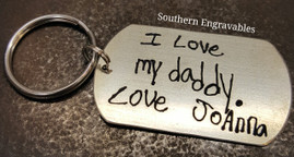 Stainless Steel Dog Tag Key Chain with Handwriting