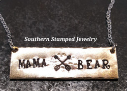 Mama Bear Bronze Bar Necklace