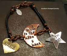 Copper Moon w/ Silver Star And Brass Solid Heart Black Leather And Copper Chain Bracelet